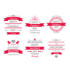 valentines day sign vintage valentine card retro vector image