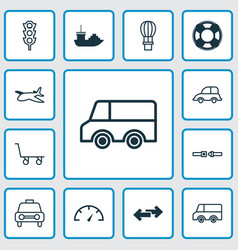 Vehicle icons set collection of lorry speed vector