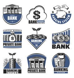 Vintage colored banking emblems set vector