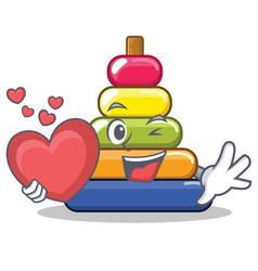 with heart pyramid ring character cartoon vector image