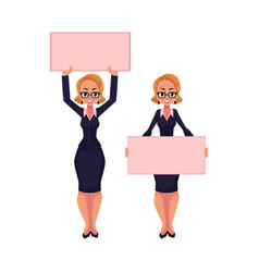 woman businesswoman on strike holding empty board vector image