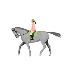 woman riding gray jogging horse isolated against vector image