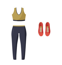 Women tight-fitting sport suit and sneakers vector