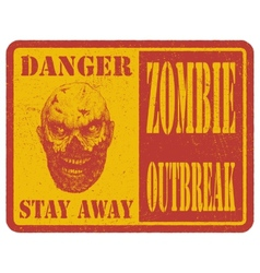 Zombie Warning sign Hand drawn eps8 vector image