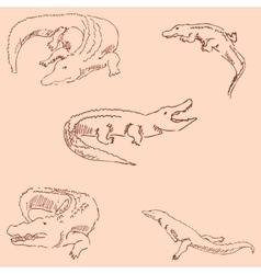 Crocodiles Sketch pencil Drawing by hand vector image