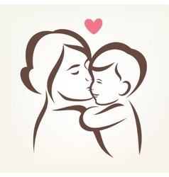 mother and son stylized silhouette outlined sketch vector image vector image