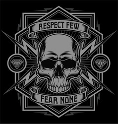Respect skull lightning graphic vector image