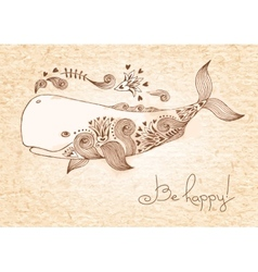 Vintage card with happy whale vector image vector image