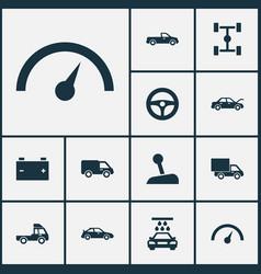 Auto icons set collection of wheelbase stick vector
