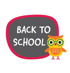 back to school banner with a cute owl vector image vector image