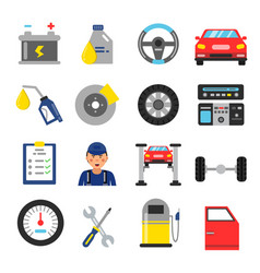 car service icons set different parts of vector image vector image