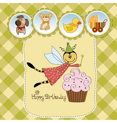 Childish birthday card with funny dressed bee vector image