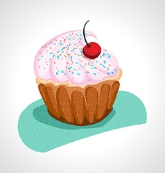 Cup cake with pink cream vector image
