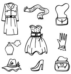 Doodle of girl clothes hand draw vector