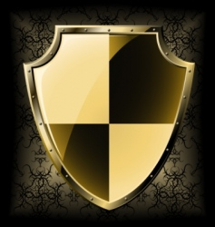 gold shield over seamless background vector image vector image