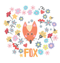 hand drawn funny cute red fox vector image vector image
