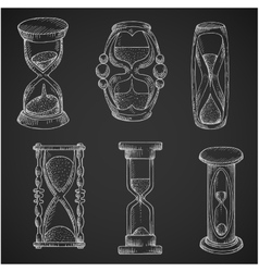 Vintage and modern hourglasses chalk sketches vector image vector image