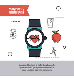 White background of poster woman health with clock vector