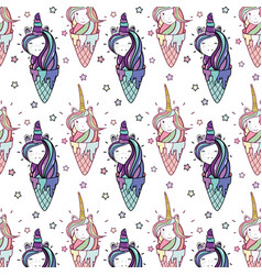 Beautiful pattern head and ice cream unicorn with vector