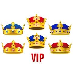 Cartoon golden crowns with jewels and velvet vector image