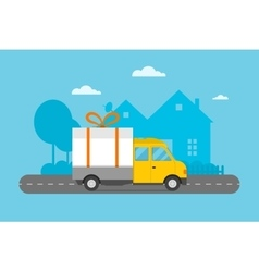 Delivery transport gift box truck vector image vector image
