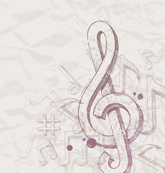 Hand drawn treble clef and notes vector image vector image