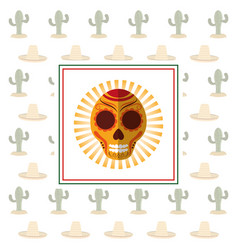 mexican card skull cactus celebration vector image