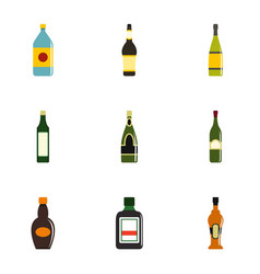 Bottle packaging icon set flat style vector