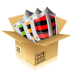 Cardboard Box with Shield Safety vector image vector image