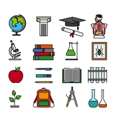 Education color line icons vector image vector image