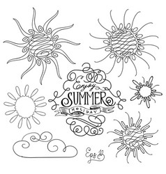 set of different suns isolated hand drawn vector image vector image