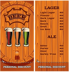 template for the cover of the beer menu vector image