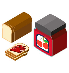 3d design for bread and cherry jam vector