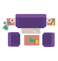 aerial view of living room isolated icon vector image