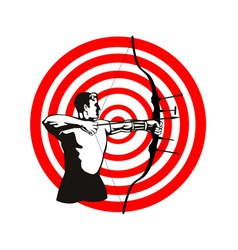 Archer Bow Arrow Target vector image