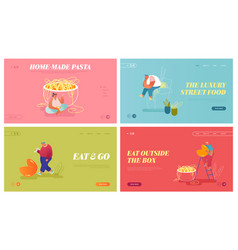 Asian food website landing page set tiny male and vector
