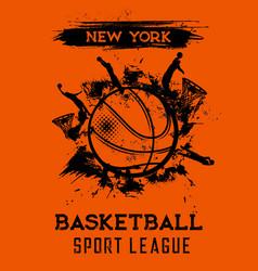 Basketball league tournament grungy poster vector