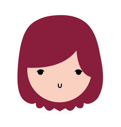 beauty girl face with hairstyle design vector image