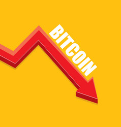 bitcoin market crash graph on orange vector image