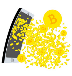 Bitcoins gushing from the mobil phone screen vector