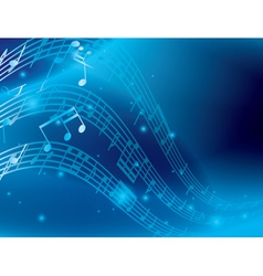 blue abstract background with music notes vector image