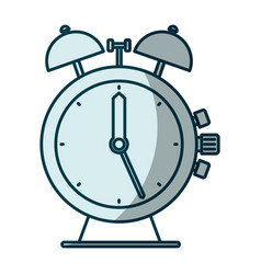 Blue shading silhouette antique alarm clock vector