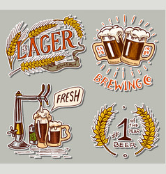 bottle beer in hand with inscription cheers vector image