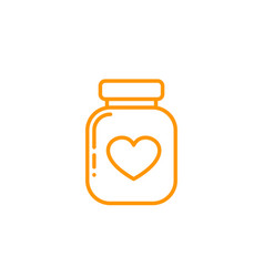 Bottle pills icon on white linear style vector