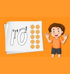 Boy with number ten tracing worksheets vector