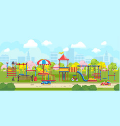 bright city park with playground for kids vector image