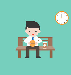 business man eating hamburger and coffee on bench vector image