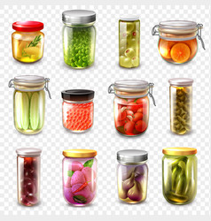 Canned goods set transparent background vector