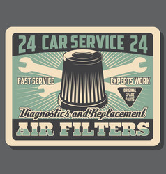 Car repair auto service air filter replacement vector