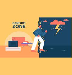 Cartoon man leave comfort zone walking to work vector